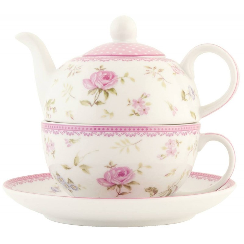 clayre eef ertefo tea for one teekanne tasse rosen ca 0. Black Bedroom Furniture Sets. Home Design Ideas