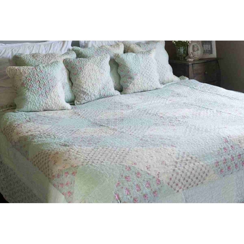 tagesdecke gr n blumen 180 x 260 cm clayre eef 5. Black Bedroom Furniture Sets. Home Design Ideas