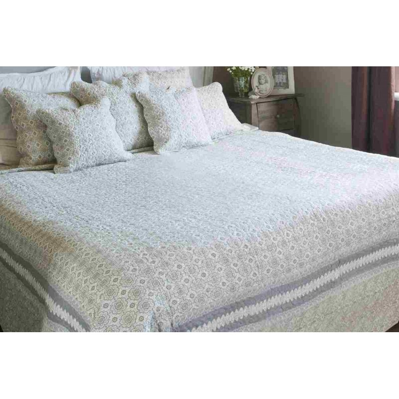 tagesdecke wei khaki 180 x 260 cm clayre eef 2. Black Bedroom Furniture Sets. Home Design Ideas