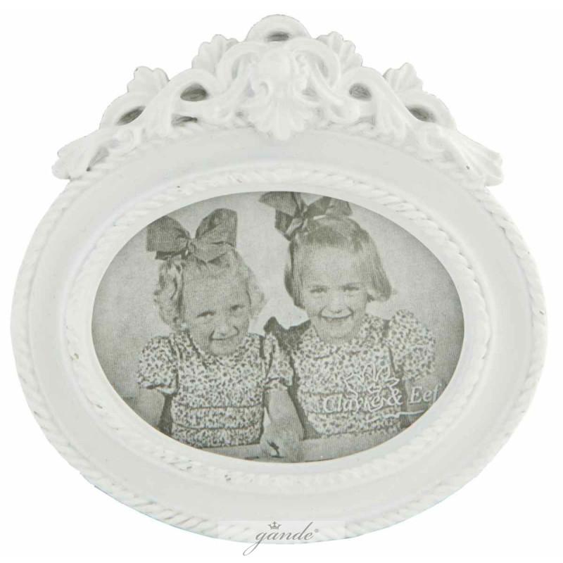 Bilderrahmen Fotorahmen oval weiß 11 x 10 cm Bildausschnitt 8 x