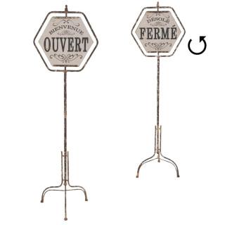 Deko Dekoration Textschild Schild Ständer Geöffnet Geschlossen Französisch  48 X 35 X 160 Cm Clayre U0026