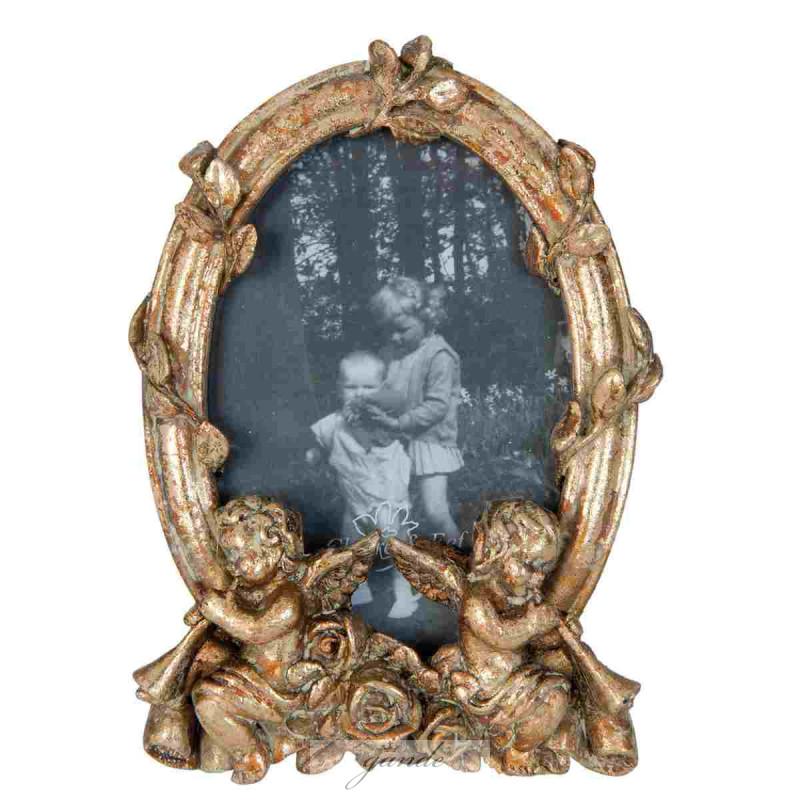 Bilderrahmen Fotorahmen Engel goldfarbig 16 x 11 x 4 cm Bildausschnit
