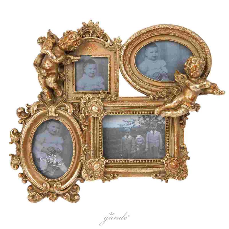 Bilderrahmen Fotorahmen goldfarbig Engel 27 x 4 x 23 cm Bildausschnit
