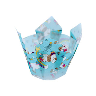 Muffin-Tulip-Wrap Einhorn Magic Punky Funky 24 Stück ca 14 x 14 cm