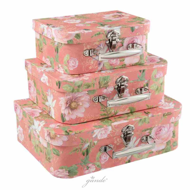 dekokoffer kofferset deko koffer 3er set rosa 31 x 22 x 9. Black Bedroom Furniture Sets. Home Design Ideas