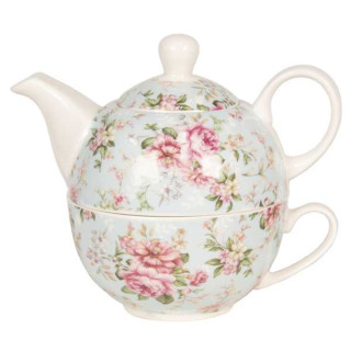 6CE1075 Tea for One romantisches florales Design Teekanne Kanne 16*10*14 cm 0,4L / 0,25L Clayre & Eef