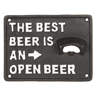 6Y3300 Textschild mit Flaschenöffner The best Beer is a open Beer 17*13*3 cm Clayre & Eef