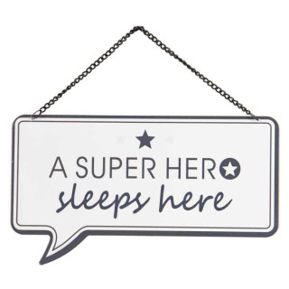 6Y3687 Textschild Blechschild a super hero sleeps here 24*1*14 cm Clayre & Eef